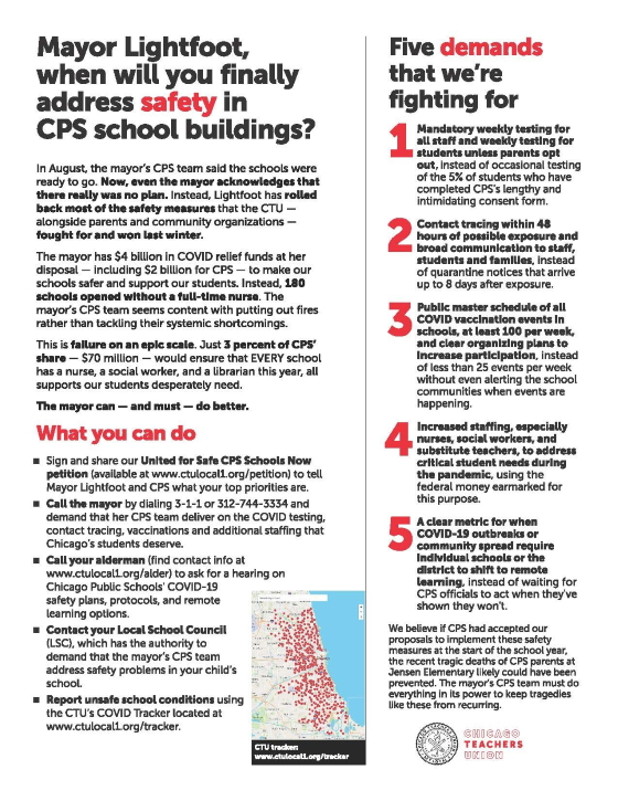 Flyer featuring CTU's top 5 demands. Download the flyer for full text.